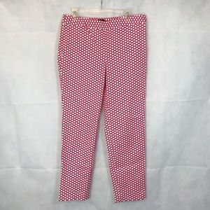 TALBOTS Red/White Patterned Chatham Pants, Size 8